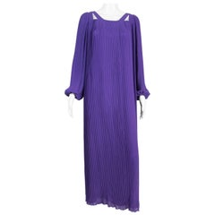 1970s Couture Philippe Venet Purple Pleated Evening Dress