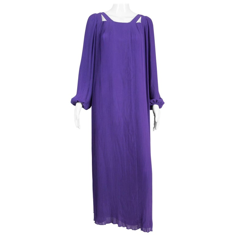 1970s Couture Philippe Venet Purple Pleated Evening Dress For Sale