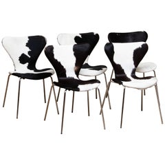 1970s, 5 Cowhide Fur Dining Chairs by Arne Jacobsen & Fritz Hansen Model 3107