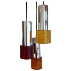 1970s Cracked Resin Ceiling Hanging Pendant Light Chrome and Shatterline