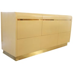 1970s Cream Lacquer and Brass Dresser by Lane