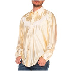 1970S Cream Silk Blend Tricot Jersey Shiny Long Sleeve Western Shirt With Fringe