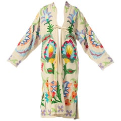 1970S Creme Embroidered Cotton Duster Coat