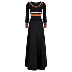 1970s Crissa Black Jersey Knit Wool Ribbed Maxi Dress With A Line Skirt