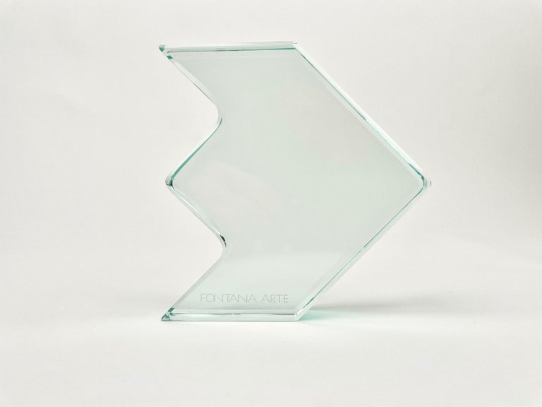 Mid-Century Modern 1970s Crystal Paperweight Sculpture by Fontana Arte for ISTUD, Italy For Sale