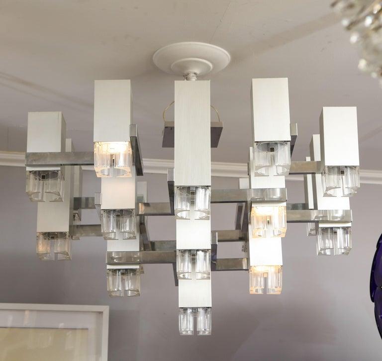 1970s cubist chandelier by Gaetano Sciolari.
