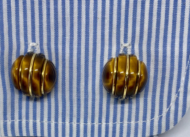 Sugarloaf Cabochon 1970s Cufflinks in 18 Karat Yellow Gold with Carved Tiger's Eye Domes For Sale