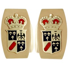 1970s Cufflinks in Yellow Gold and Enamel