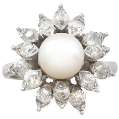 1970s Cultured Pearl and 1.05 Carat Diamond White Gold Cluster Ring
