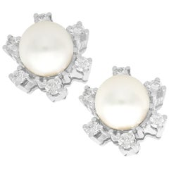 1970s Cultured Pearl and Diamond White Gold Stud Earrings