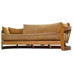 1970s Curved Slat Spindle Back Rustic Modern Solid Oak Sofa Couch by Howard
