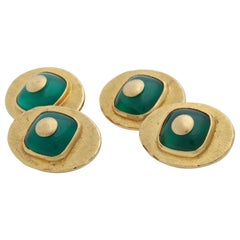 1970s Custom Cut Green Onyx with Brushed Gold Double-Sided Cufflinks