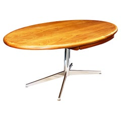 1970s Custom Mid-Century Modern Oval Oak Executive Desk by Florence Knoll