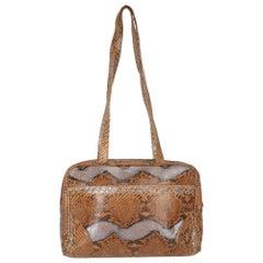 1970s Dal Cò Brown Python Skin Shoulder Bag