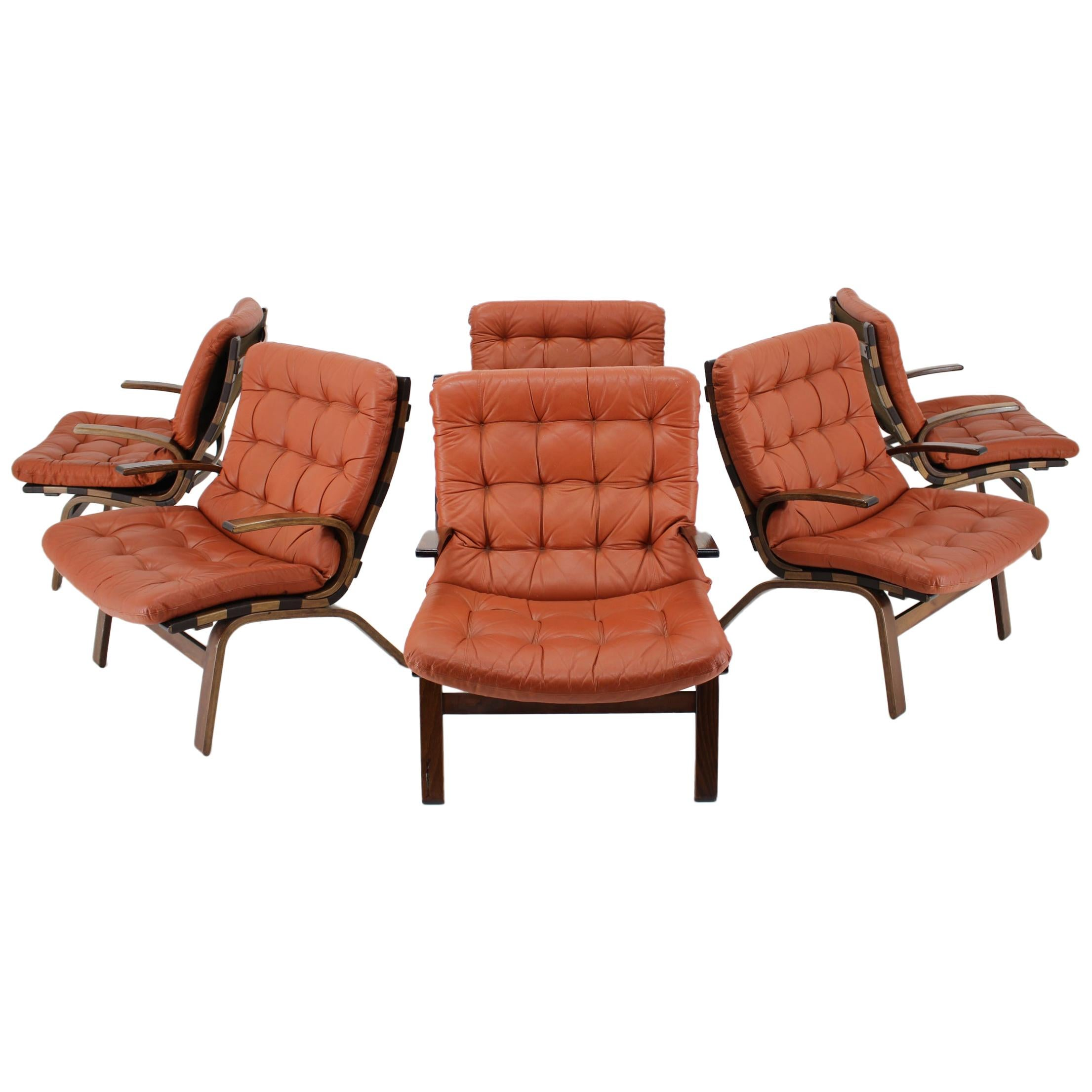 1970s Danish Bentwood Armchair in Red Leather