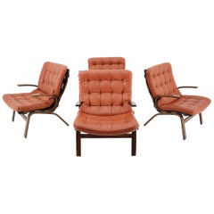 1970s Danish Bentwood Armchair in Red Leather, Set of 4