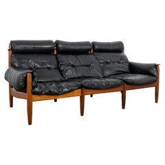 1970s Danish Black Leather Wooden Sofa