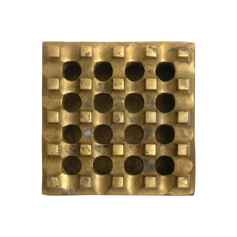 1960s Danish Brass Grid Ashtray in the Manner of Holger Bäckström & Bo Ljungberg In Good Condition For Sale In New York, NY