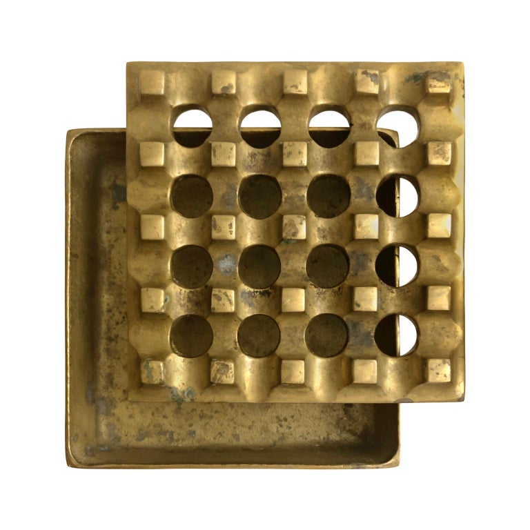 1960s Danish Brass Grid Ashtray in the Manner of Holger Bäckström & Bo Ljungberg For Sale 1