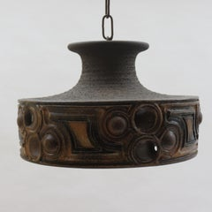 1970s Danish Brutalist Ceramic Hanging Pendant Light by Demstrup