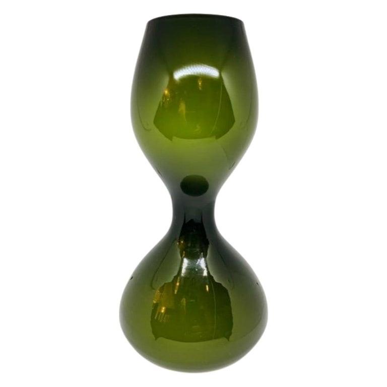 1970s Danish Hand Blown Holmegaard Encased Green Glass Hourglass Shaped Vase For Sale