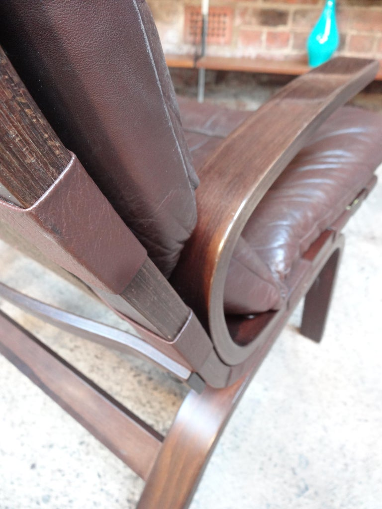 1970s Danish Ingmar Relling Brown Leather Armchair In Good Condition For Sale In Cowthorpe, North Yorkshire