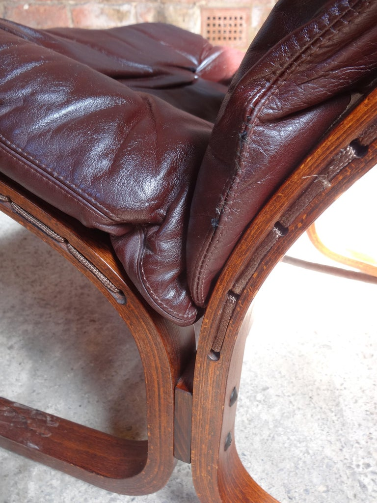 20th Century 1970s Danish Ingmar Relling brown leather armchair For Sale