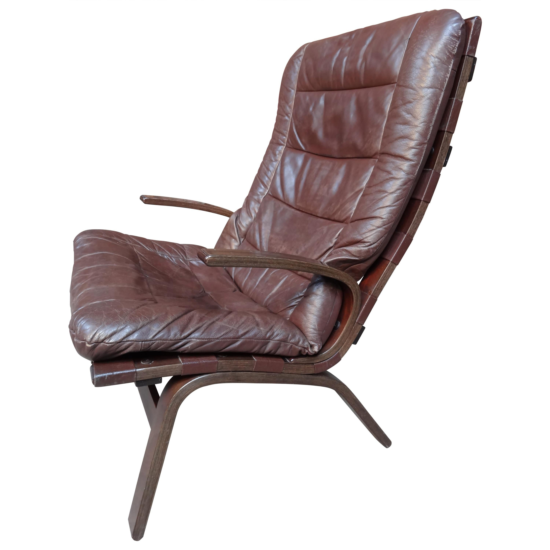 1970s Danish Ingmar Relling Brown Leather Armchair