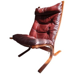 1970s Danish Ingmar Relling brown leather armchair