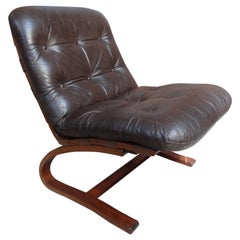 1970's Danish Ingmar Relling brown leather arm chair