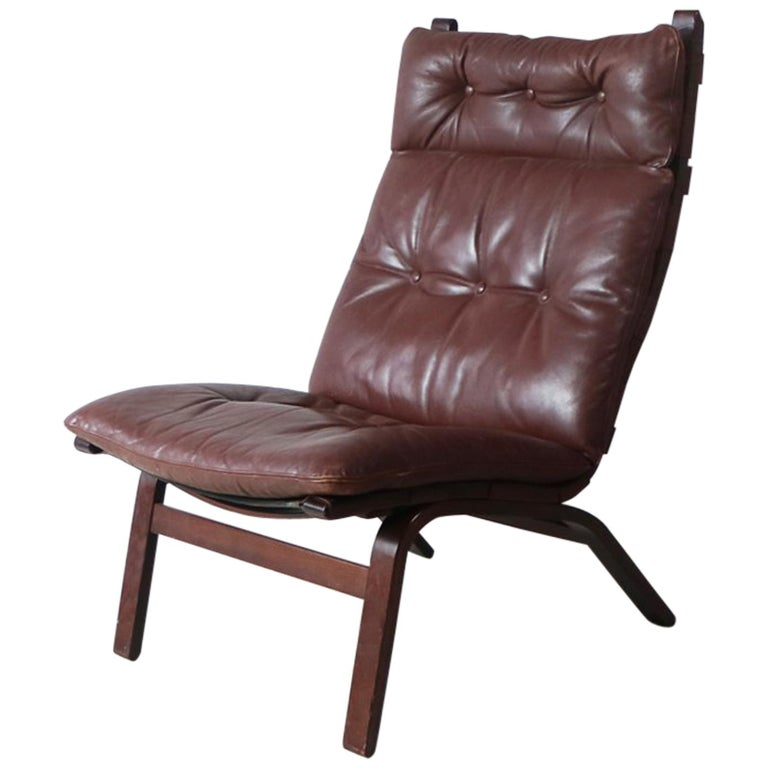 1970s Danish Midcentury Leather Lounge Chair For Sale At