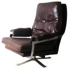 1970s Danish Midcentury Leather Reclining Lounge Chair