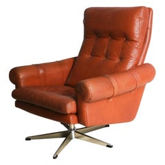 1970s Danish Midcentury Leather Swivel Armchair