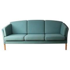 1970s Danish Midcentury Sofa with Original Teal Upholstery