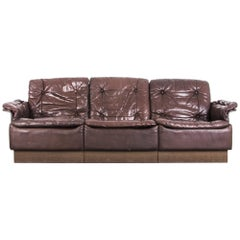 1970s Danish Modern Chocolate Brown Leather Sofa