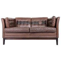 1970s Danish Modern Leather and Rosewood Settee