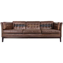 1970s Danish Modern Leather and Rosewood Sofa