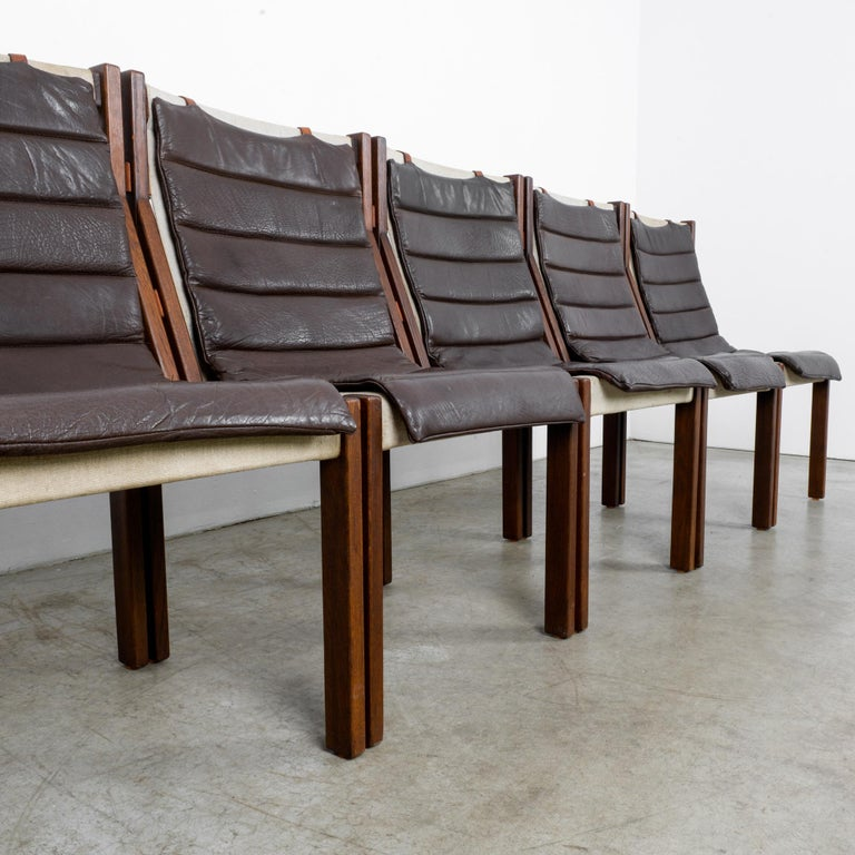 1970s Danish Modern Leather Cushion Dining Chairs, Set of Five 5
