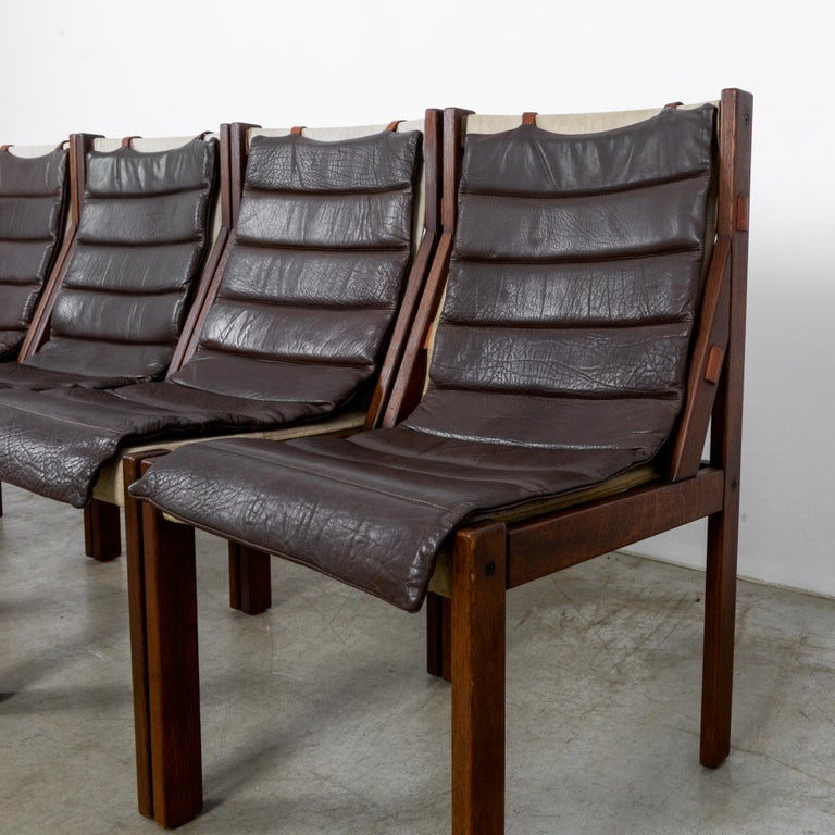 1970s Danish Modern Leather Cushion Dining Chairs, Set of Five 6