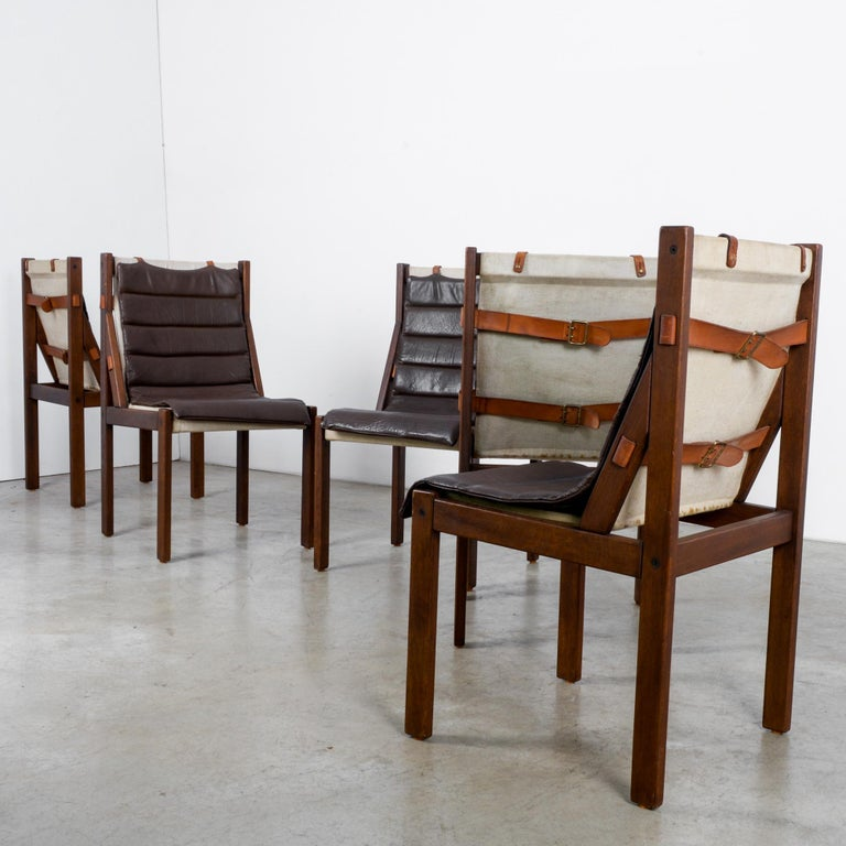 1970s Danish Modern Leather Cushion Dining Chairs, Set of Five 7