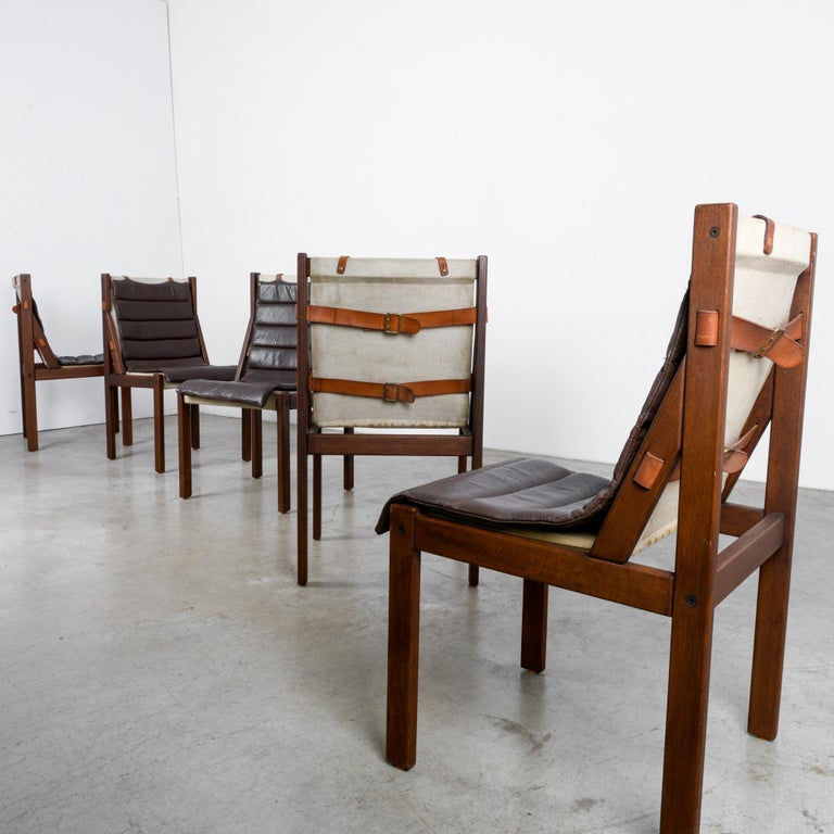 1970s Danish Modern Leather Cushion Dining Chairs, Set of Five 8
