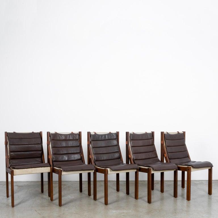 Scandinavian Modern 1970s Danish Modern Leather Cushion Dining Chairs, Set of Five