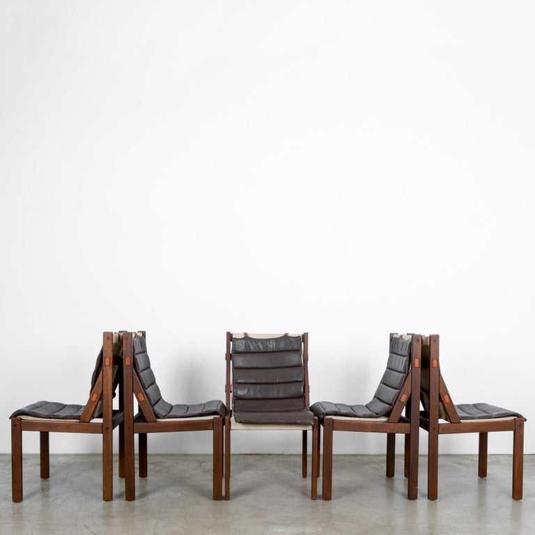 1970s Danish Modern Leather Cushion Dining Chairs, Set of Five In Good Condition In High Point, NC