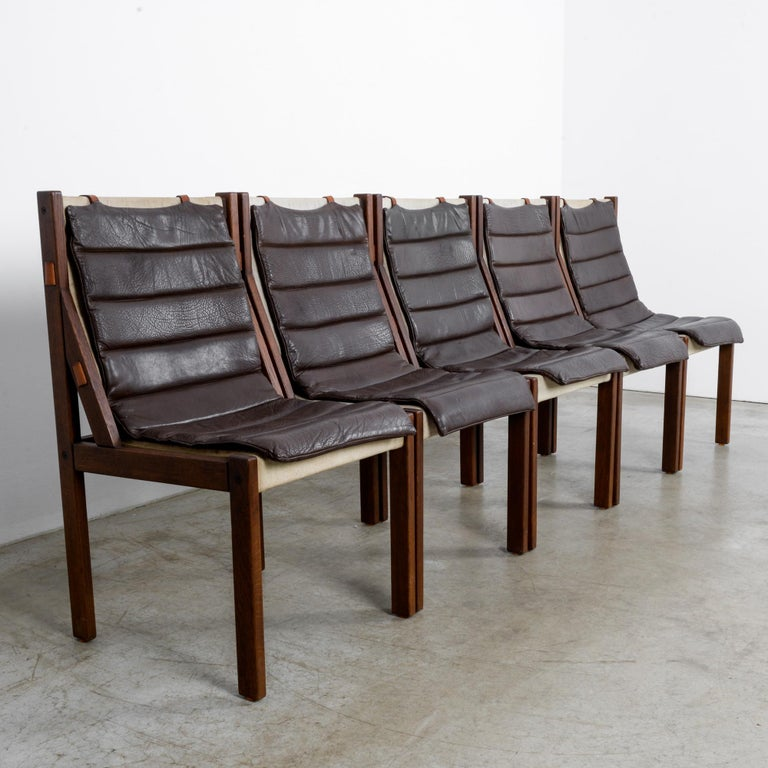 Late 20th Century 1970s Danish Modern Leather Cushion Dining Chairs, Set of Five