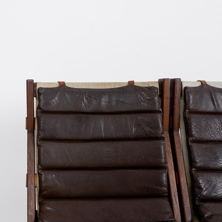 1970s Danish Modern Leather Cushion Dining Chairs, Set of Five 1