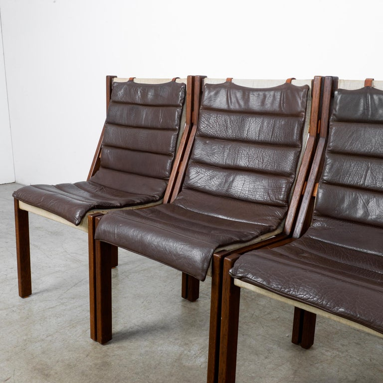 1970s Danish Modern Leather Cushion Dining Chairs, Set of Five 2
