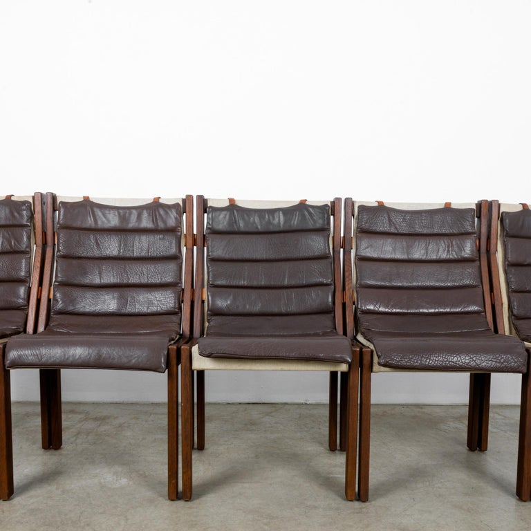1970s Danish Modern Leather Cushion Dining Chairs, Set of Five 4