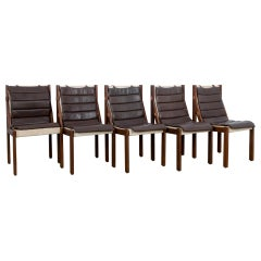 1970s Danish Modern Leather Cushion Dining Chairs, Set of Five