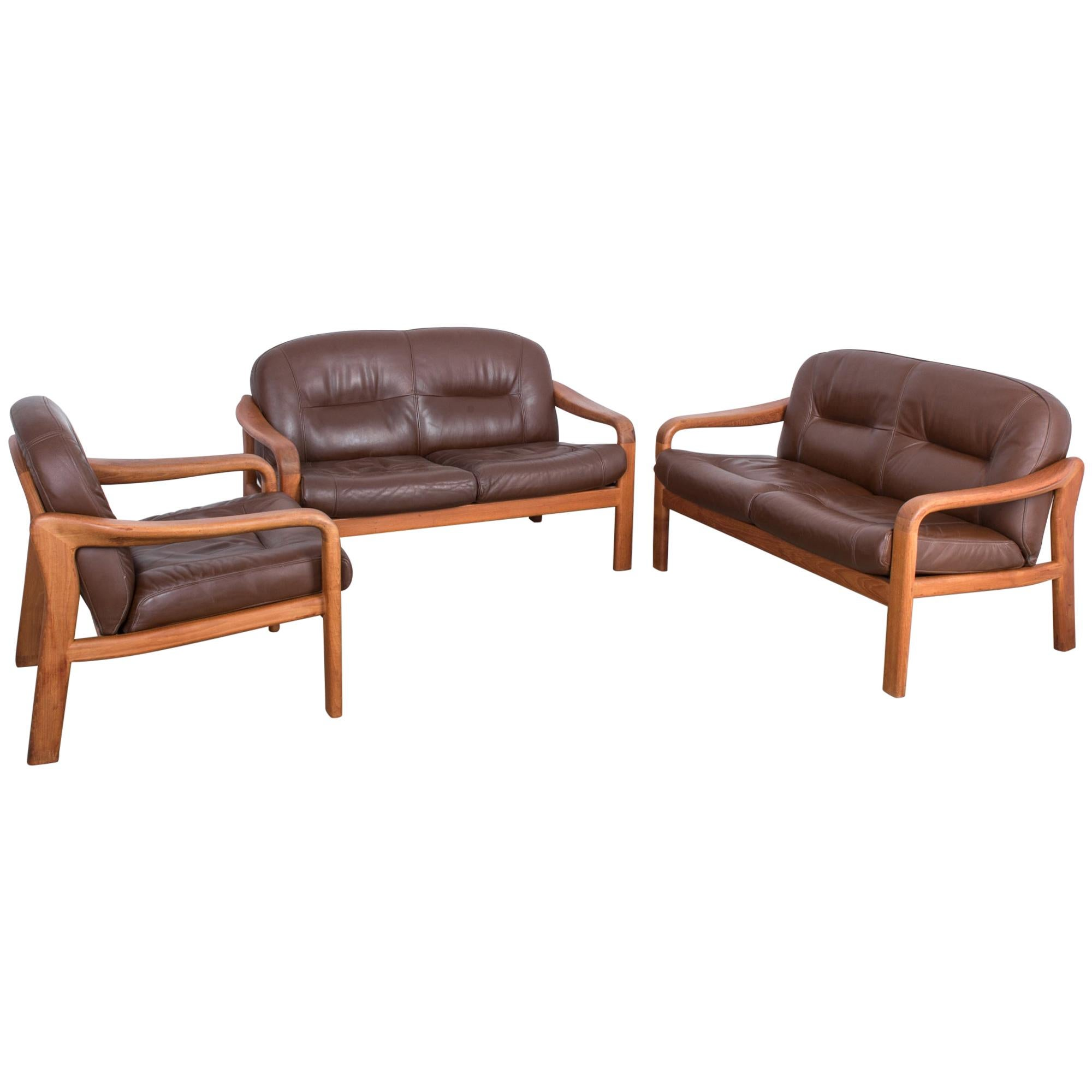1970s Danish Modern Leather Sofas and Armchair, Set of Three