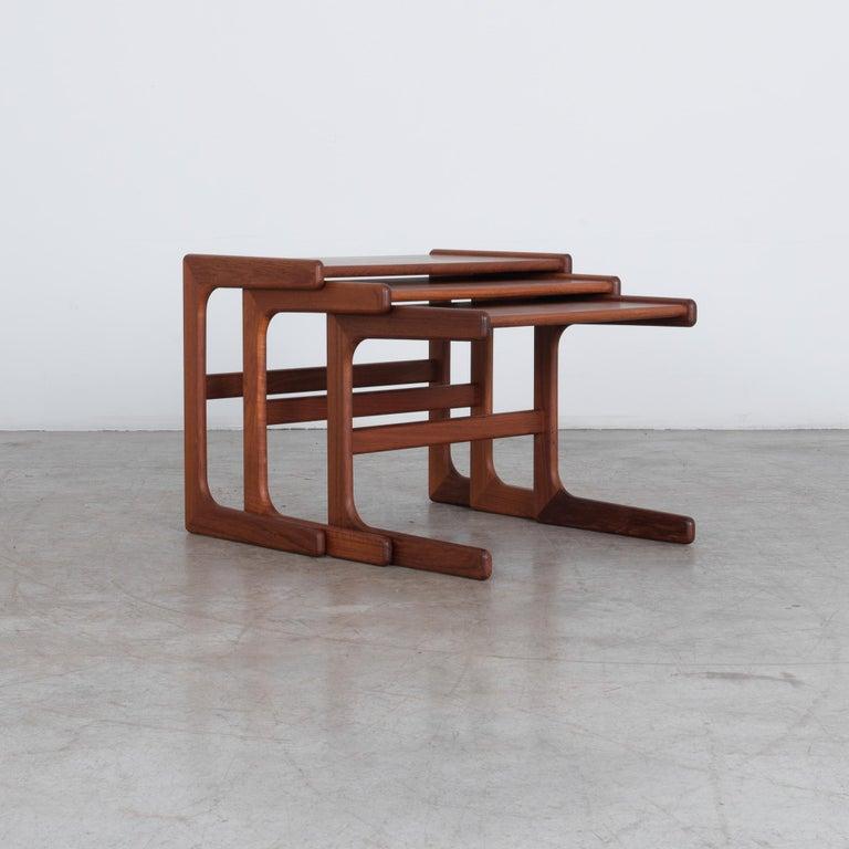 Oiled 1970s Danish Modern Nesting Tables, Set of 3 For Sale